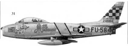 31.F-86F-30-NA 52-4584 «MIG MAD MARINE/LYN ANNIE DAVE I» майора Джона Гленна корпуса морской пехоты США, Глени летал в составе 25-й эскадрильи 51-го авиакрыла ВВС США