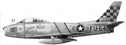 33.F-86E-1-NA 50-649 «AUNT MYRNA» лейтенанта Вальтера Коупилэнда из 25-й эскадрильи 51-го авиакрыла