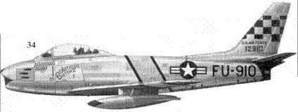 34.F-86F-1-NA 51-2910 «BEAUTIOUS BUTCH II» 1-го лейтенанта Джозефе Макконнелла из 39-й эскадрильи 51-го авиакрыла