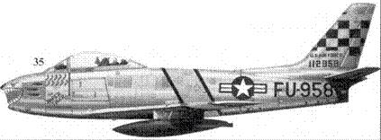 35.F-86F-10-NA 51-12958«the PAPER TIGR» 1-го лейтенанта (позже капитана) Гарольда Фишера из 39-й эскадрильи 51-го авиакрыла