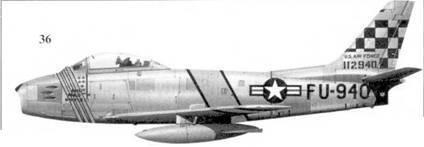 36.F-86F-10-NA 51-12940 «MIG MAD MA VIS» командира 39-й эскадрильи 51-го авиакрыла подполковника Джорджа Рудделля.