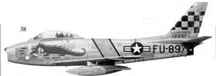 38.F-86F-1-NA 51-2897 «THE HUFF» лейтенанта Джеймса Л. Томпсона из 39-й эскадрильи 51-го авиакрыла
