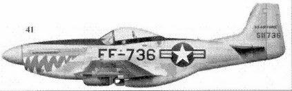 41.F-51D-30-NT 45-11736 лейтенанта Джеймса Глисснера из 12-й истребительно-бомбардировочной эскадрильи 18-й истребительно-бомбардировочной группы