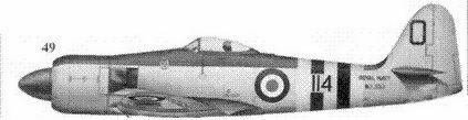 49. «Си Фъюри» FB.Mk.II лейтенанта Питира Кармичела из 802-й эскадрильи авиации ВМС Великобритании, авианосец «Оушен».