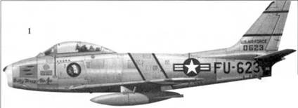 1.F-86E-1-NA 500623 «Pretty Mary & the Js» командира 4-го истребительного авиакрыла полковника Хиррисона Р. Тинга