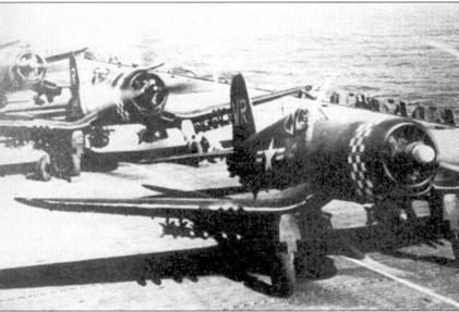 В начале войны эскадрилья VMA-312 базировалась на передовых аэродромах, ничем ее перевели на авианосец CVL-29 «Батаан». Корабль курсировал в Желтом море вблизи западного побережья Корейского полуострова. В годы войны «Корсары» корпуса морской пехоты базировались как на береговых аэродромах, так и на авианосцах. 21 апреля 1951г. летчики эскадрильи VMA-312 капитан Филип С. Делонг и лейтенант Харольд Д. Дэйг сбили три истребителя Як-9. На снимке самолеты F4U-4 полностью загруженные бомбами и ракетами HVAR ожидают сигнала па взлет, авианосец «Батаан», май 1951г.