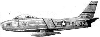 7.F-86E-10-NA 51-2821 майора Фредерика С. Блисси из 334-й эскадрильи 4-го авиакрыла