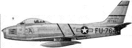 9.F-86E-10-NA 51-2764 капитана Леонарда У. Лилли из 334-й эскадрильи 4-го авиакрыла