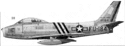 10.F-86A-5-NA 49-1184 «Miss Behaving» 1-го лейтенанта Ричарда С. Биккера из 334-й эскадрильи 4-го авиакрыла