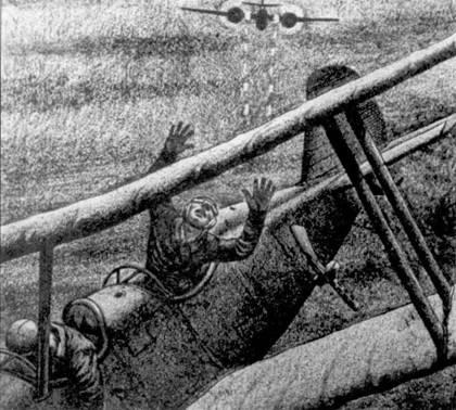 Драматический рисунок, изображающий атаку «Тайгеркэтом» северокорейского ночного бомбардировщика По-2. Рисунок сделал сержант Том Мюррей через несколько часов после того, как экипаж истребителя F7F-3N в составе летчика капитана Эдвин Б. Лонг и оператора РЛС уоррент-офицер Букингэма сбил По-2.