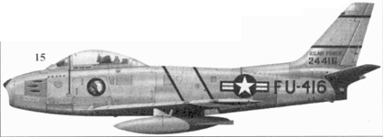 15.F-86F-30-NA 52-4416 «Boomer» капитана Клайда А. Куртина из 335-й эскадрильи 4-го авиакрыла