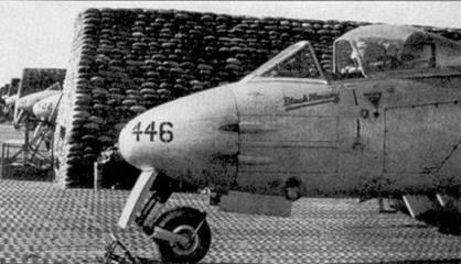 Снимок участники Корейской войны истребителя «Метеор» F.8 А 77-446 сделан в Австралии в апреле 1959г. В этот период на нем летал пайлот-офицер Кен Мюррей, обратите внимание на надпись «Black Murray» ниже козырька фонаря кабины.