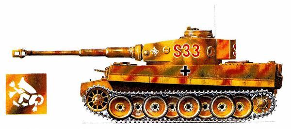Pz.Kpfw.VI Tiger Ausf.E. 8-я тяжёлая танковая рота 2-й танковой дивизии СС (8.s.Pz.Kp., 2.SS Panzer Division) «Das Reich», Курск. 1943г.