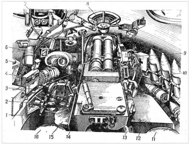 19.Боевое отделение танка Т-10: 1 — нижний погон; 2 — стопор башни; 3 — пульт наводчика; 4 — щиток башни; 5 — электромотор поворота башни; 6 — налобник прицела ТШ2-27; 7 — прибор наблюдения командира (ТПКУ); 8 — вентилятор; 9 — установка спаренного пулемета ДШК; 10- укладка снарядов; 11 — сиденье заряжающего; 12 — укладка зарядов; 13 — лоток механизма досылания; 14 — казенная часть пушки; 15 — сиденье наводчика; 16 — сиденье командира танка (РПМЧ).