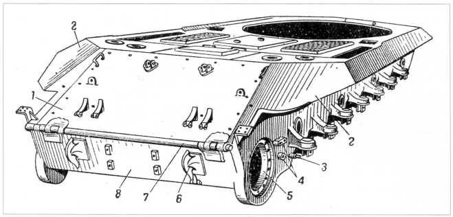 22.Корпус танка Т-10, вид сзади: 1 — верхний кормовой откидной лист; 2 — задние боковые листы; 3 — палец для крепления серег рычага амортизатора; 4 — бонки для крепления грязеочистителей; 5 — гнездо для установки бортовой передачи; 6 — буксирный крюк; 7 — торсионный валик; 8 — нижний кормовой лист(РПМЧ).