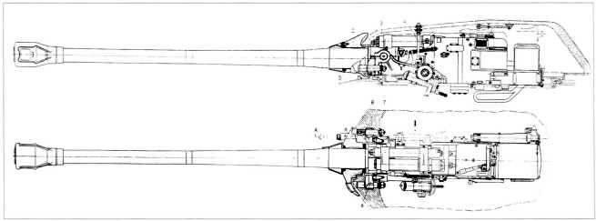 25.Установка в башне танка Т-10 122-мм пушки Д-25ТА и спаренного пулемета ДШК: 1 — ствол; 2 — подвижная бронировка; 3 — цапфы пушки; 4 — тяга; 5 — сальник; 6 — пальцы; 7 — тарельчатые пружины, 8 — рамка (РПМЧ).