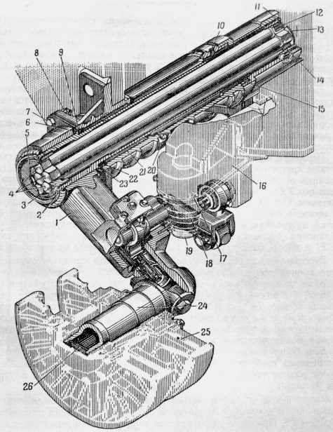 29.Подвеска передних и задних опорных катков танка Т-10: 1 — балансир; 2 — ось балансира; 3 — наружная муфта; 4 — стержень (торсион); 5 — крышка; 6 — съемный фланец; 7 — болт; 8 — гайка; 9 — регулировочная прокладка; 10 — установочный винт; 11 — пружинное кольцо; 12 — винт; 13 — обойма; 14 — внутренняя муфта; 15 — внутренняя втулка; 16 — упор; 17 — стопорный болт; 18 — спиральная пружина; 19 — боек; 20 — пробка; 21 — наружная втулка; 22 — войлочный сальник; 23 — регулировочная прокладка; 24 — ось катка; 25 — опорный каток; 26 — заглушка (РПМЧ).