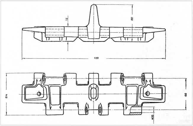 34.Трак танка Т-10, схема из атласа запасных частей (АК).