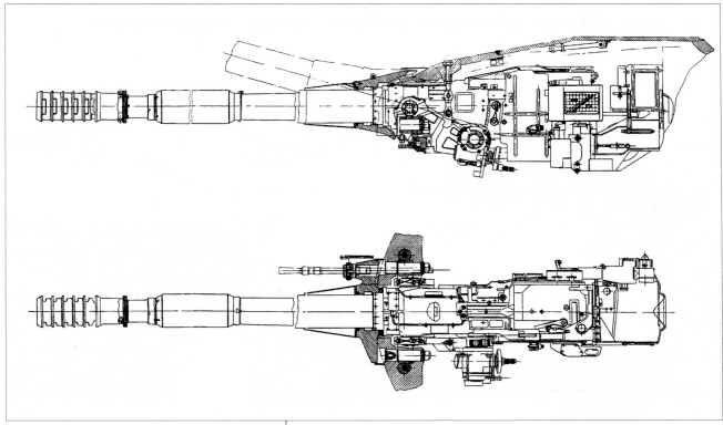55.Установка 122-мм пушки М62-Т2 и спаренного с ней 14,5-мм пулемета КПВТ в башне танка Т-10М.