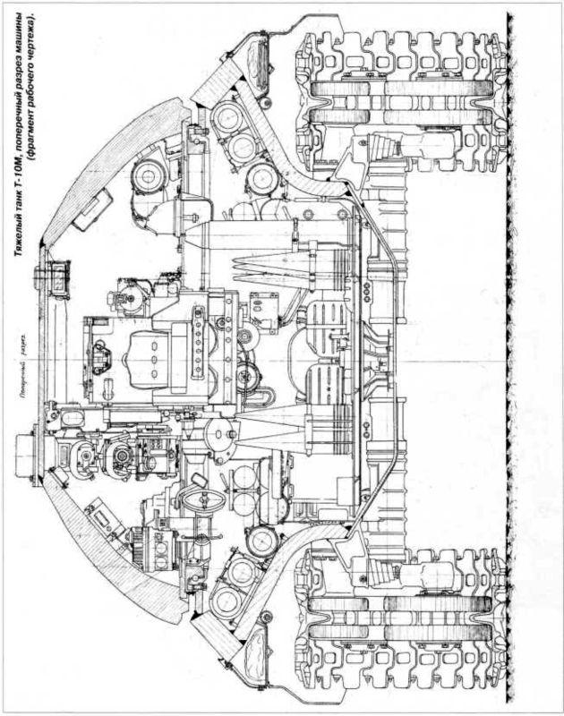 58.Тяжелый танк Т-10М, поперечный разрез машины (фрагмент рабочего чертежа).