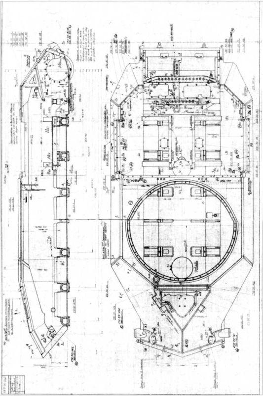 60.Корпус тяжелого танка Т-10М, продольный разрез и вид в плане (фрагмент рабочего чертежа).