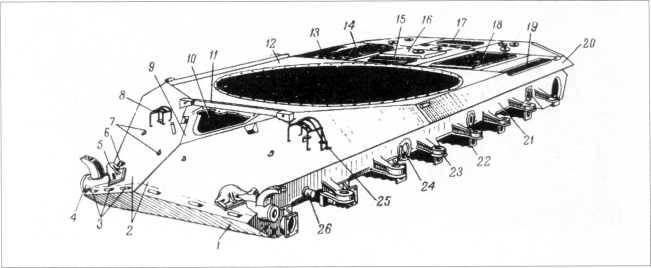 71.Корпус танка Т-10М, вид спереди: 1 — нижний наклонный лобовой лист; 2 — верхние наклонные лобовые листы; 3 — петли для крепления переднего отражателя; 4 — кронштейн кривошипа направляющего колеса; 5 — буксирный крюк; 6 — защелки буксирного крюка; 7 — скобы крепления вертикального щитка; 8 — ограждение фар; 9 — передний наклонный лист крыши; 10 — люк механика-водителя; 11 — защитный брусок, 12 — подбашенный лист; 13 и 19 — выпускные окна эжекторов; 14 и 18 — сетки окон над радиаторами; 15 — сетка окна впуска в двигатель воздуха летом; 16 — лист крыши над двигателем; 17 — сетка окна впуска в двигатель воздуха зимой; 20 — верхний наклонный бортовой лист; 21 — нижний гнутый бортовой лист; 22 — кронштейн балансира опорного катка; 23 — упор балансира; 24 — фланец; 25 — ограждение фары и сигнала; 26 — цапфа механизма натяжения гусеницы (РПМЧ).
