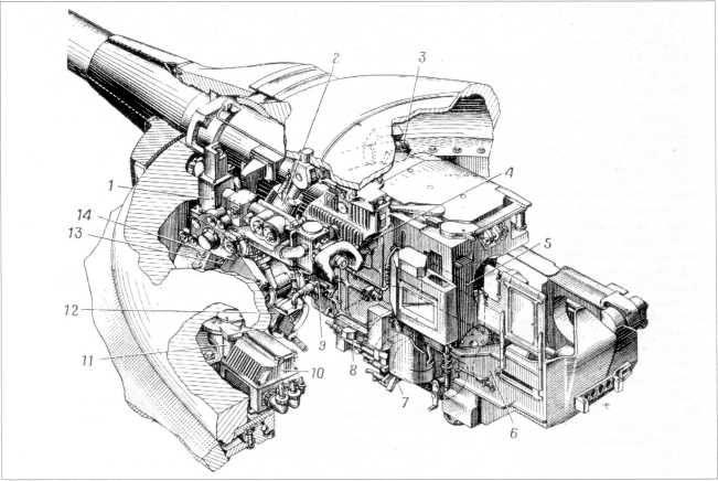 73.Размещение в башне Т-10М приборов стабилизатора вооружения «Ливень»: 1 — прицел Т2С; 2 — исполнительный цилиндр; 3 — преобразователь; 4 — дополнительный бак; 5, 10 и 13 — распределительный коробки; 6 — электромашинный усилитель; 7 — гидроусилитель; 8 — блок гиротахометров; 9 — ограничитель; 11 — исполнительный двигатель; 12 — коробка компенсатора; 14 — электроблок (РПМЧ).