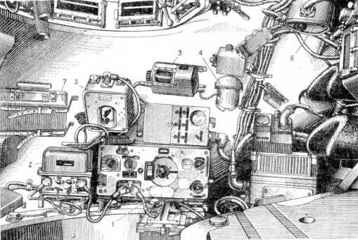 77.Установка в башне танка Т-10М радиостанции Р-113 и ТПУР-120: 1 — приемопередатчик; 2 — блок питания; 3 — блок настройки антенны; 4 — нижняя часть антенного устройства; 5 — аппарат ТПУА-1; 6 — аппарат ТПУ А-2; 7 — ящик с комплектом ЗИП (РПМЧ).