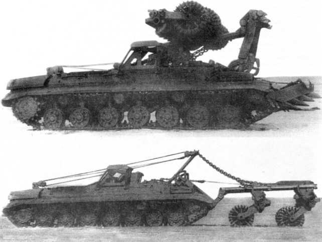 90.Минный инженерный тральщик на базе танка Т-10М: вверху «объект 220» с ножевыми и катковой секциями (в походном положении); внизу — «объект 213» с катковым тралом (АСКМ).