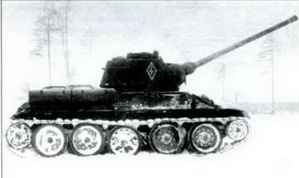 85-мм орудие С-53 в штатной башне танка Т-34 на испытаниях. 1943 г.