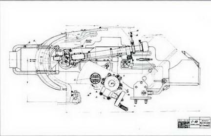 Фрагмент чертежей установки 85-мм орудия С-53 в башне танков Т-43 и Т-34. 1943 г.