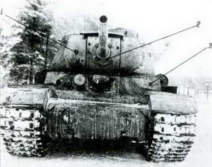Танк ИС-85, подбитый у Лысянки. Цифрами показаны попадания немецких снарядов 1944 г.