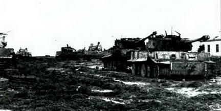 Другая часть панорамы «Тигров», захваченных в районе Умани. Весна 1944 г.