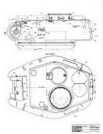 Фрагмент чертежей башни Т-34-85 УТЗ им. Сталина под 85-мм пушку С-53. 1944 г.