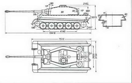 Общие виды и схема бронирования танка «Тигр-Б»(Tiger Ausf В).
