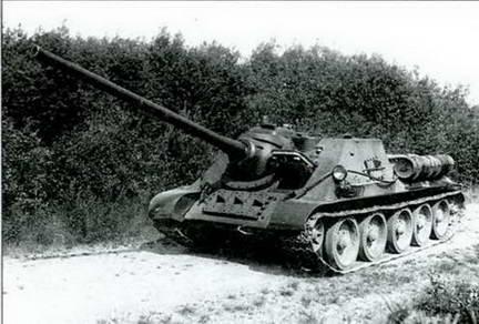 Испытания 85-мм орудия С-34- 1В в артсамоходе СУ-85. 1944 г.