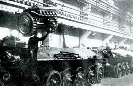 Монтаж двигателя В-2 в МТО Т-34. Конвейер завода № 183, весна 1943 г.