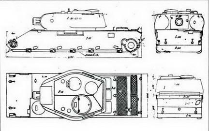 Схема бронекорпуса танка Т-54 1945