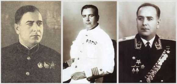 Слева направо: капитан 3 ранга Николай Египко после возвращения из Испании (1938 год), капитан 2 ранга Николай Египко после присвоения звания ГерояСоветского Союза (1939 год), контр-адмирал Николай Египко — начальник Высшего военно-морского училища подводного плавания имени Ленинского комсомола (начало1960-х).