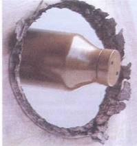 Результаты стрельбы гранатой ТБГ-7 по листу брони.