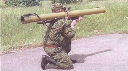 Изготовка для стрельбы с колена из РПГ-29.