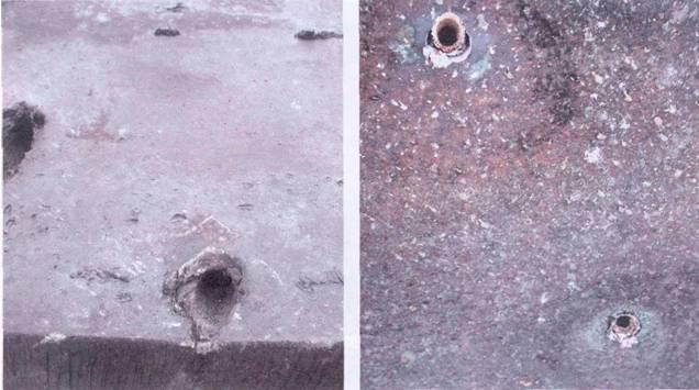 Броня современного танка, пробитая кумулятивными гранатами. На левом фото входные отверстия, на правом фото выходные отверстия.
