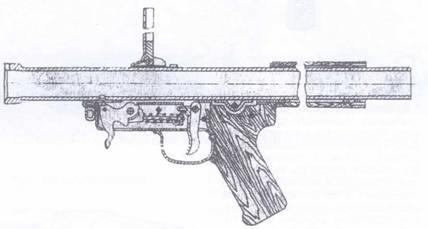 Разрез ударно-спускового механизма гранатомета РПГ-1.