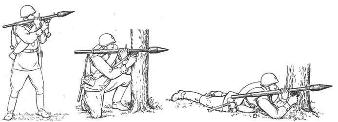 Положение для стрельбы из гранатомета РПГ-2: стоя, с колена, лежа.