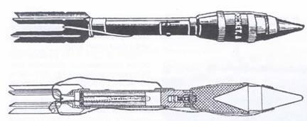 Общий вид и разрез реактивной гранаты к ружью «Базука» М.1.