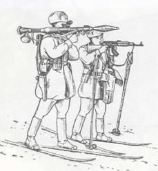 Положение для стрельбы из РПГ-7: с лыж с колена, лежа и стоя.