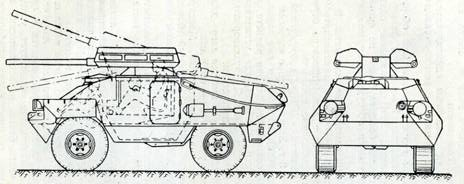 Рис. 111. Бронеавтомобиль «Унимог» SH со спаренной установкой 80-мм автоматических гранатометов