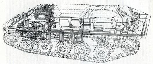 Рис, 130. Схема компоновки многоцелевого гусеничного шасси HS-30 «Испано-Сюиза»