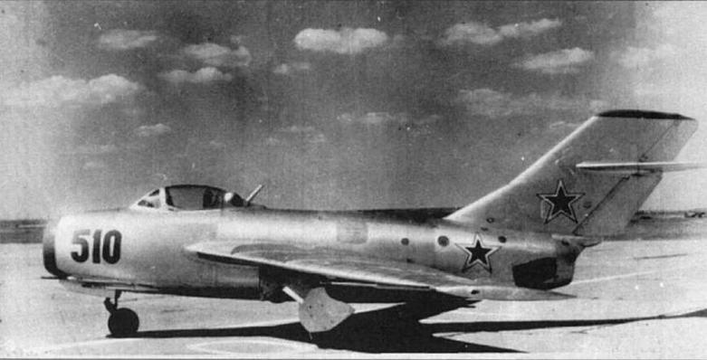 Истребитель МиГ-15бис №125010 (СЕ) с крылом нового профиля и увеличенной площадью киля.