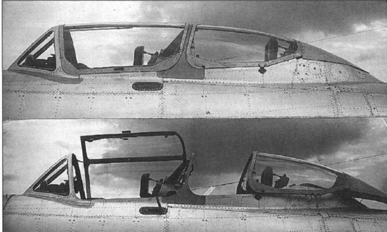 Фонарь самолета УТИ МиГ-15 в закрытом и открытом положениях.